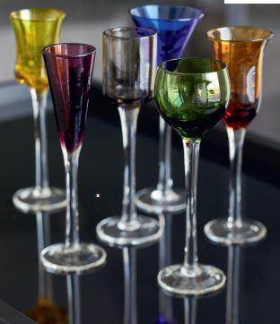 Lyngby glas snapseglas i 6 forskellig farver