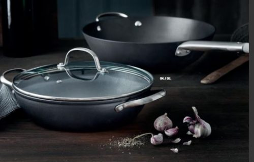 Pillivuyt garonne wok og sauterpande sæt, i serie af robust i letvægtsstøbejern