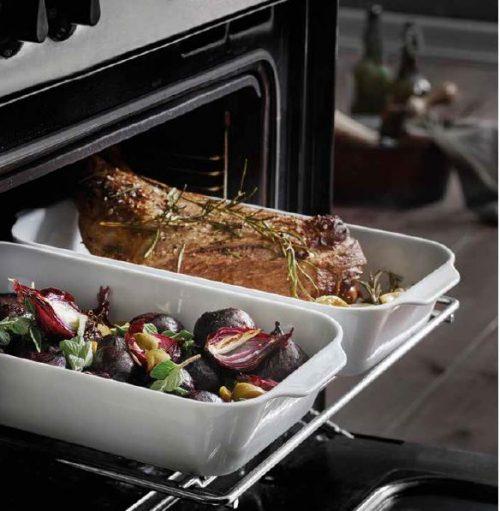 Pillivuyt stegefade og RÖSLE stegetermometer, så kom løsningen på et tilbagevendende problem, ikke nok plads i ovnen.