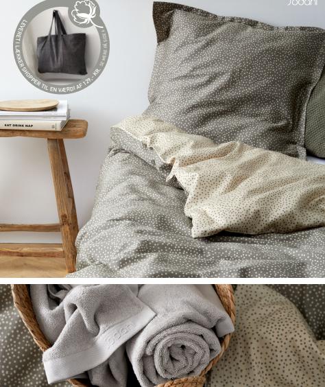 Södahl organic sengetøj med håndklæder, i 100 % ØKOLOGISK bomuld. Balance sengetøjet er helt enkelt i sit udtryk. De små uens prikker i motivet indbyder til ro og balance