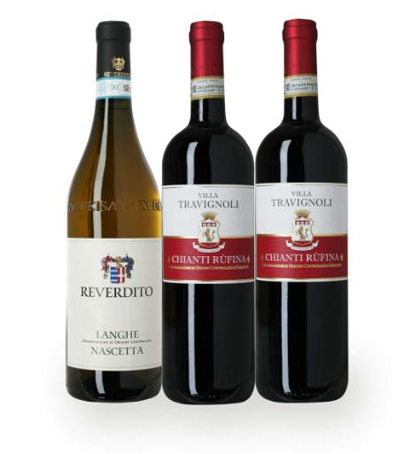 Gavepakke med vin fra Italien, med 3 fl. god italiensk vin. 2 røde og 1 hvid, som kan nydes til en dejlig middag. God fornøjelse.