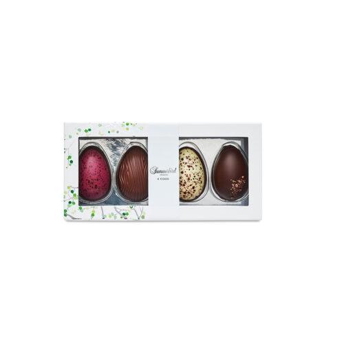 Summerbird smagsoplevelser 4 stk. Vores økologiske chokoladepåskeæg hylder både de klassiske smage og den moderne gastronomi.