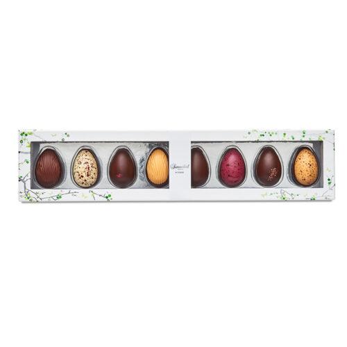 Summerbird smagsoplevelser 8 stk. Vores økologiske chokoladepåskeæg hylder både de klassiske smage og den moderne gastronomi.