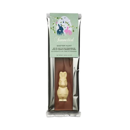 Summerbird påskehare. Vores raffinerede klassiske mælkechokolade er i denne påskeudgave dekoreret med en smuk påskehare i hvid chokolade
