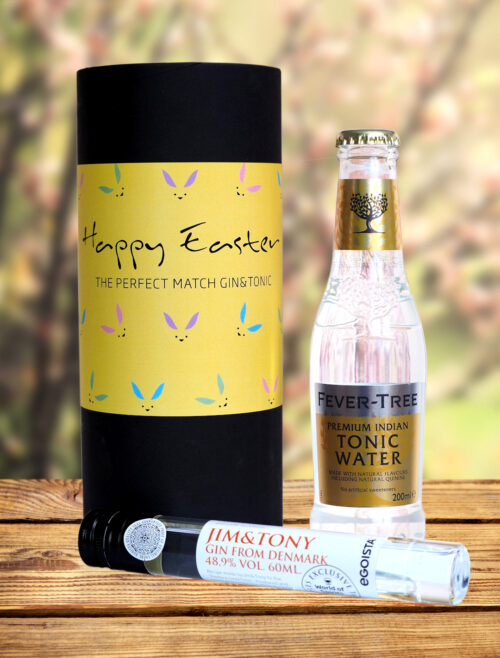 Egoista Happy Easter G/T pakke. Gaverøret indeholder følgende: 60 ml. Jim & Tony Buckthorn Danish Gin i eksklusiv glas tube. 200 ml. Fever-tree Indian Tonic