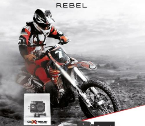 GoXtreme Rebel Actionkamera med tilhørende app. Produktet er vandtæt og har bla. funktioner som WIFI, Tidsforløb, enkelt foto, anti rystning