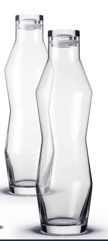 Holmegaard Perfection karaffel og vandglas. Perfection kendes på den karakteristiskeskænke-linje, som går gennem alle glassene