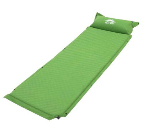 Selvoppustelig liggeunderlag med hovedpude, som er indbygget. Liggeunderlaget er oppustet 3 cm tykt og en behagelig blød følelse at sove på.